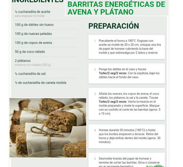 Barritas Energéticas de Avena y Plátano
