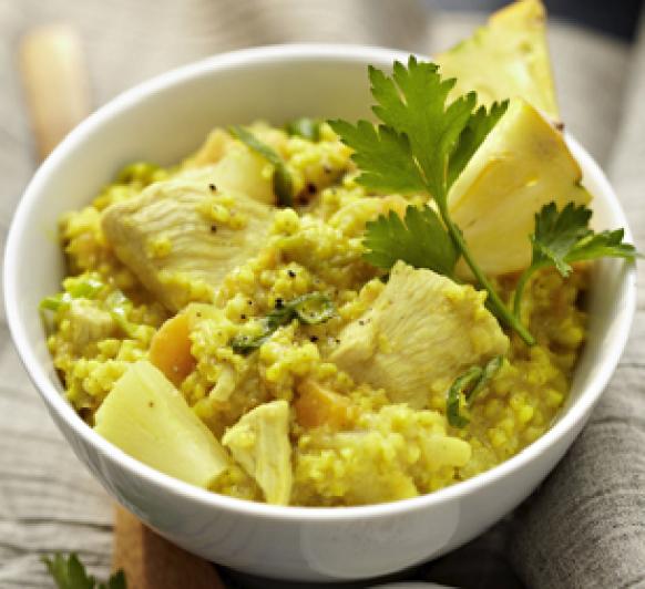 Incorporando cereales saludables a nuestra dieta: hoy Mijo al curry con pollo y piña (apto para celíacos) en Thermomix®