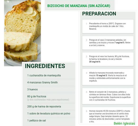 Bizcocho de Manzana (Sin Azucar)