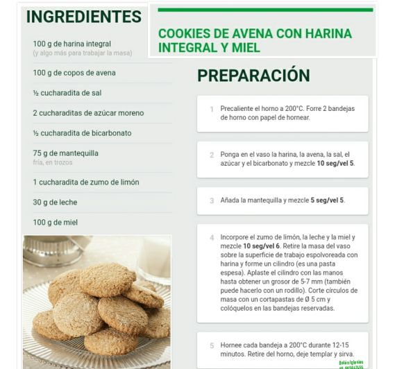 Cookies de avena con harina integral y miel